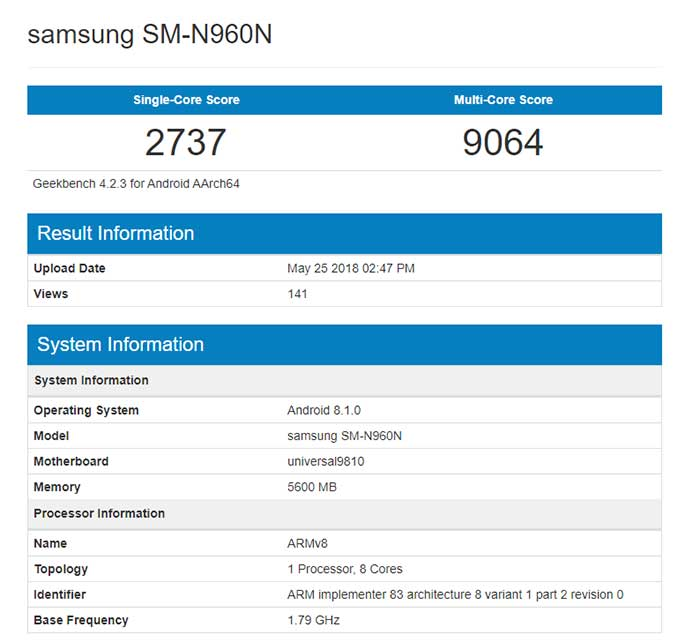 Sasmung Galaxy Note 9